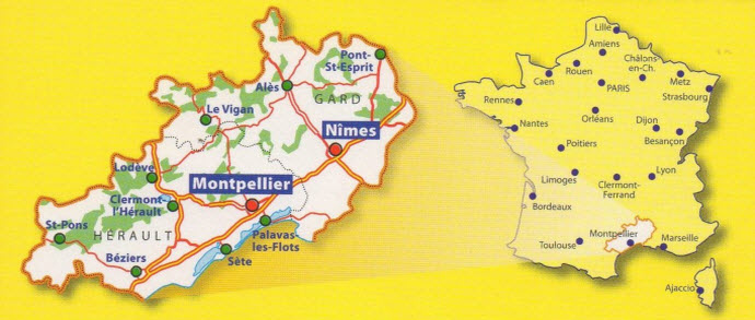Map of Montpelier and Nimes, France